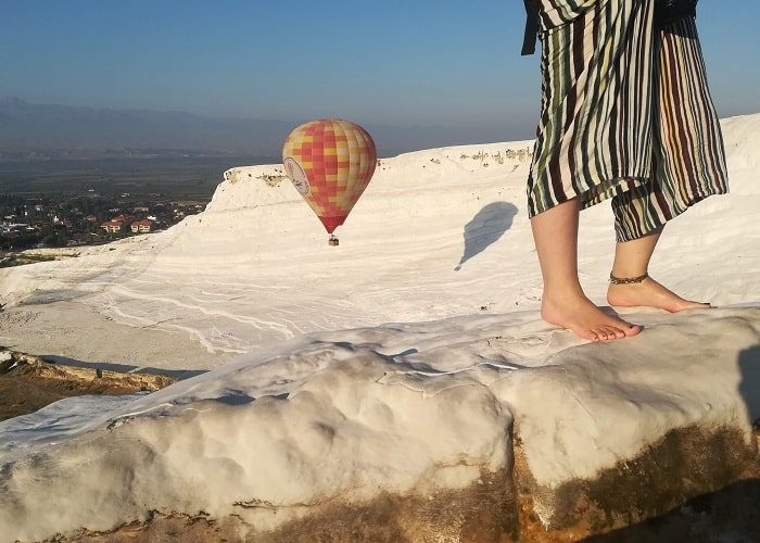 Pamukkale Hot Air Balloon Close To Travertines